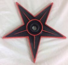 """9"""" Cast Iron Pentagram Star Hand Painted Black & Red Wall Hanging Art Home Decor"""