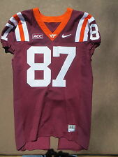 Virginia Tech Hokies Game Used Maroon Football Jersey 87 New ACC Patch size44