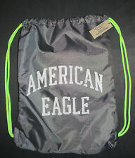 AMERICAN EAGLE DRAWSTRING BAG BACKPACK GRAY/NEON GREEN