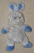 Carters Just One Year Blue Bunny Rabbit Beanbag Plush Toy Silky Fur Dot Bow