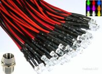 5mm Ultra Bright Pre-Wired Constant/Flashing 12v LEDs Chrome Metal Holders