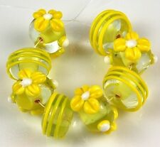 Yellow White Daisy Swirls Lampwork Glass Beads Loose Rondelle Craft Spacer 8pcs
