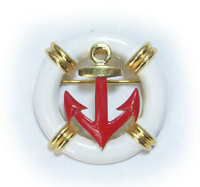 Vintage Trifari Goldplated Enamel Nautical Brooch w. Anchor and Life Preserver