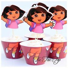 12 pcs NEW Dora The Explorer Cupcake Toppers + Wrappers. Party Jelly Cup Girls