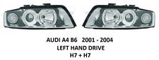 AUDI A4 B6 FRONT HEADLAMPS HEAD LAMP HEADLIGHTS 2X H7 PAIR SALOON AVANT 01-04