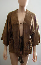PHILLIP LIM SIZE 4 SUEDE STYLISH JACKET COAT LINING BROWN 100% LEATHER 100% SILK