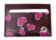 GUCCI Betty Shangai Hearts Purple Leather Card Case Wallet 334483 $325