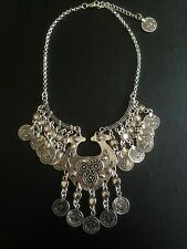 Vintage Necklace Moroccan Coin Silver Hippie Boho Tribal Belly Dance Bohemian UK