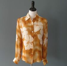 Pre-Owned Ellen Tracy Ivory & Copper Floral 100% Silk L/S Shirt Blouse - 12