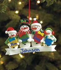 FAMILY OF 4 PERSONALIZED SNOWMAN CHRISTMAS TREE ORNAMENT HOLIDAY HOME DECOR