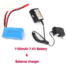 7.4V 1100mAh Battery+Balance Charger For WLtoys RC A949 A959 A969 A979 Airplane