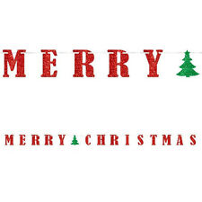 12ft Red Merry Christmas Tree Glitter Letter Banner Party Decorations
