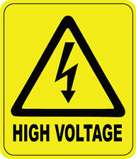 HIGH VOLTAGE WARNING SIGN - VINYL STICKER - 16 cm x 13 cm