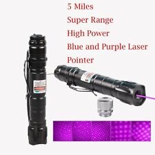 Powerful 5mW Blue Purple Laser Pointer Burning Light Beam Pen+ 18650 Charger