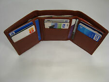 Gent's High Quality Luxury Soft Leather Shirt  Wallet Trifold Slim Brown