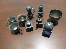 Superb Lot of vintage pewter miniature kitchen metalware [Y7-W6-A8-E9]