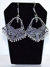 Silver Metal Kite Hoop Dangle Earrings hook Handmade fashion Jewelry India