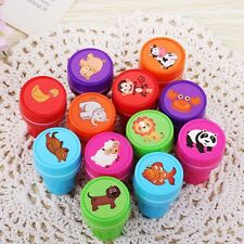 12PCS  Cartoon Animal Stamps Seal Set Self Inking Stamps Kids Toy Gifts