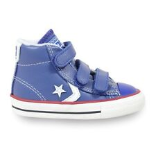 Converse Boys Star Player 3V Hi Top Leather Trainers Blue & White UK Infant 6