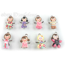 100 Little Girl Polymer Clay Charms Pendant 31mm 140298