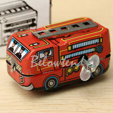 Cute 80's Retro Firefighter Mini Fire Truck Clockwork Wind Up Metal Toys Gift