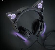 Brookstone Cat Ear Headphones LED Gaming Headset Music Earphone Foldable Purple