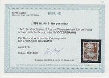 SBZ 1948 Karl Marx Mi.Nr. 214 bx ** postfrisch (ockerbraun) Fotobefund Mayer