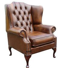 Chesterfield Mallory Queen Anne High Back Fireside Armchair Antique Tan Leather