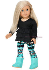"RUFFLED TOP + PRINT LEGGINGS + A BOOTS clothes fits 18"" American Girl Doll Only"