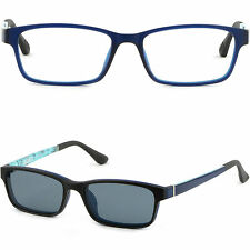 Men Women Magnetic Snap Clip on Frames Prescription Glasses Sunglasses Navy Blue