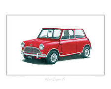 Austin Mini Cooper S red & white- Limited Edition of 50 Classic Car Print Poster