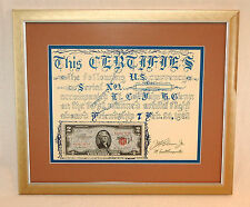 RARE Autographed John Glenn 1962 Mercury Original Space Flown $2 Bill + COA