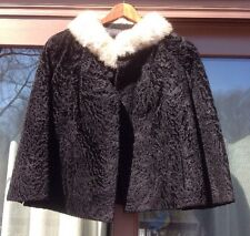 Women's Persian Lamb Lambswool & Mink Collar Real Fur Strawbridge & Clothier