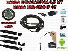 SONDA ENDOSCOPICA ISPEZIONE MICRO E USB 3,5 MT 6 LED IP67 ANDROID WINDOWS OTG