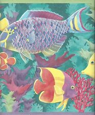 Oceans of Fish in Teal Blue Water with Coral Wallpaper Border PC197B