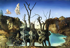 "Salvador Dali ""Swans reflecting elephants in"", 1937,giclee 8.3X11.7 canvas print"