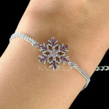 w Swarovski Crystal Purple Snowflake Snow Flake Holiday Winter Xmas Bracelet New