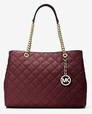 NWT Michael Kors Susannah Quilted Large NS Tote Merlot MSRP $428