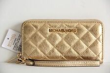 NWT MICHAEL KORS SUSANNAH LARGE LEATHER MULTIFUNCTION WALLET WRISTLET PALE GOLD