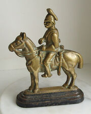 ANTIQUE Victorian CAVALRY SOLDIER on a horse brass & iron door stop