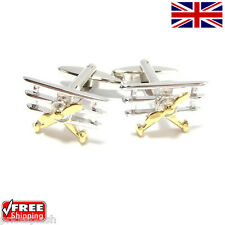 Cool Men's Dress Gold and Silver Bi-Plane Areoplane Cufflinks Novelty Design