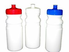 3 - 20 oz.  Sports Water Bottles with Red Blue White Caps Mfg USA Lead Free