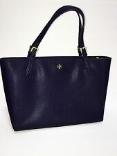"$295 Tory Burch York LARGE 15"" Laptop Tote BLACK Saffiano Leather Shoulder Bag"