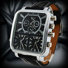 NEW RUSSIAN PILOT DIAL Men 3 Time Zone Sport Wrist Watch Analog Black S-Leather