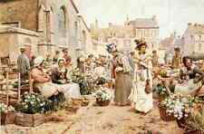 Glending Jr Alfred Augustus Flower Market In A French Town A4 Print
