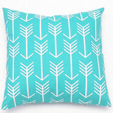 Aqua Blue Arrow Geometric Cotton Canvas Decor Throw Cushion Cover Pillowcase