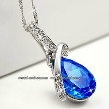 Royal Blue Crystal Necklace Love Xmas Gift For Her Wife Mum Sis Girl Lady Women