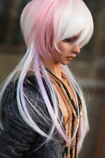 "BJD Doll Hair Wig 8-9"" 1/3 SD DZ DOD LUTS White Pink Long Straight"