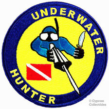 UNDERWATER HUNTER EMBROIDERED PATCH SCUBA DIVING EMBLEM iron-on DIVE HUNTING new