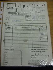13/01/1978 Fulham: Marquee Studios - A Receipt & Carbon Copy, For The Use Of The